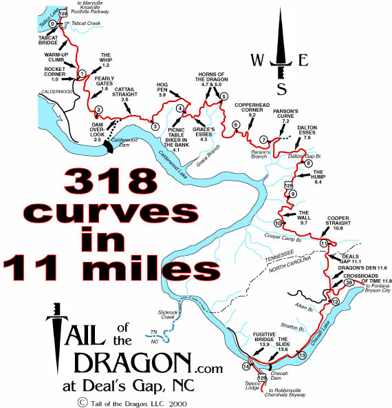 Tail Of The Dragon Good News I JUST WANT RIDE - Us 129 the dragon map